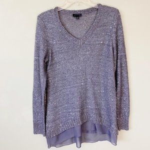 THE LIMITED gray boucle knit/sequins sweater S